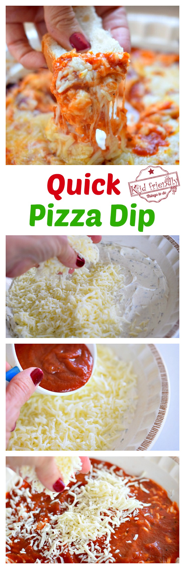 Classic Quick and Easy Hot Pizza Dip Recipe With Cream Cheese - Perfect appetizer for game days, holidays and crustless pizza fixes - www.kidfriendlythingstodo.com