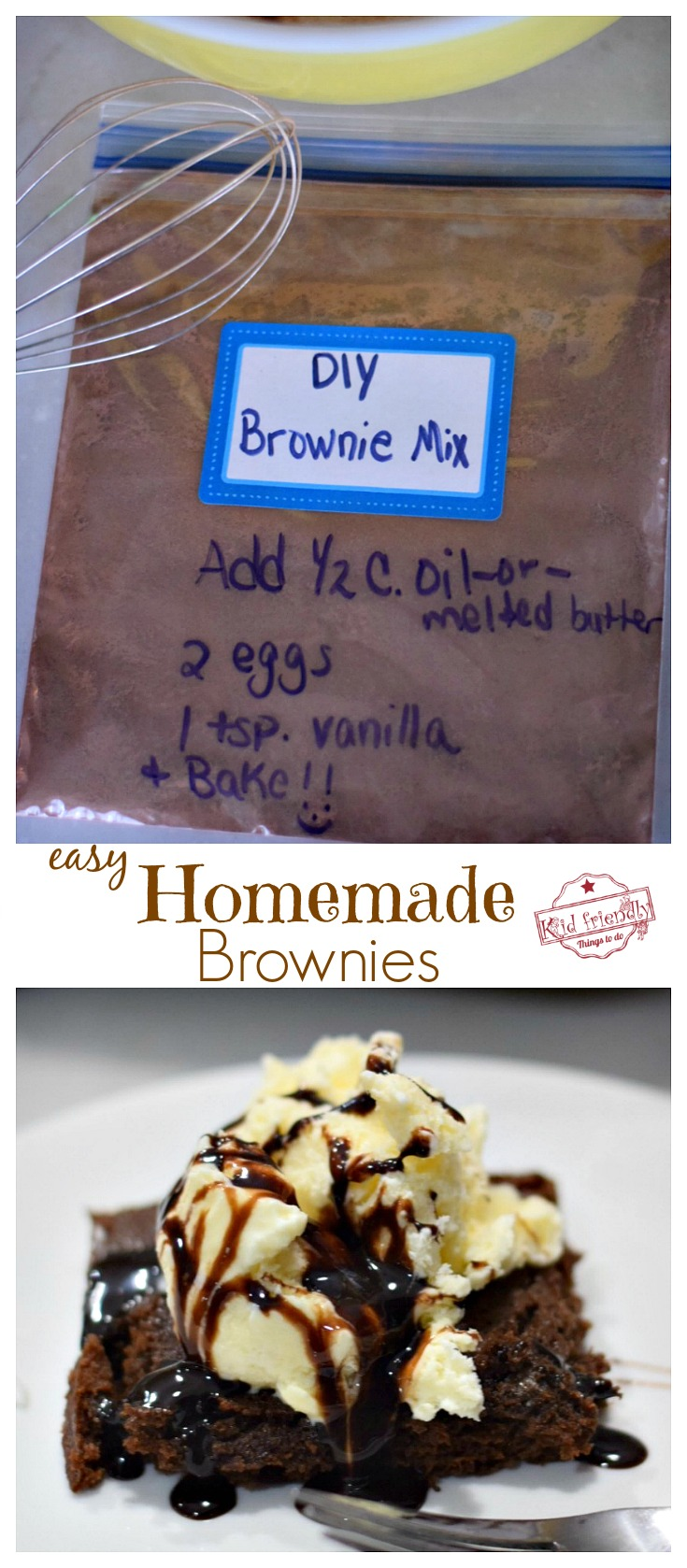 Easy Homemade Brownies Recipe - Make your own Easy Brownie Mix with a few simple ingredients. These are the best! Never buy boxed brownies again! - www.kidfriendlythingstodo.com