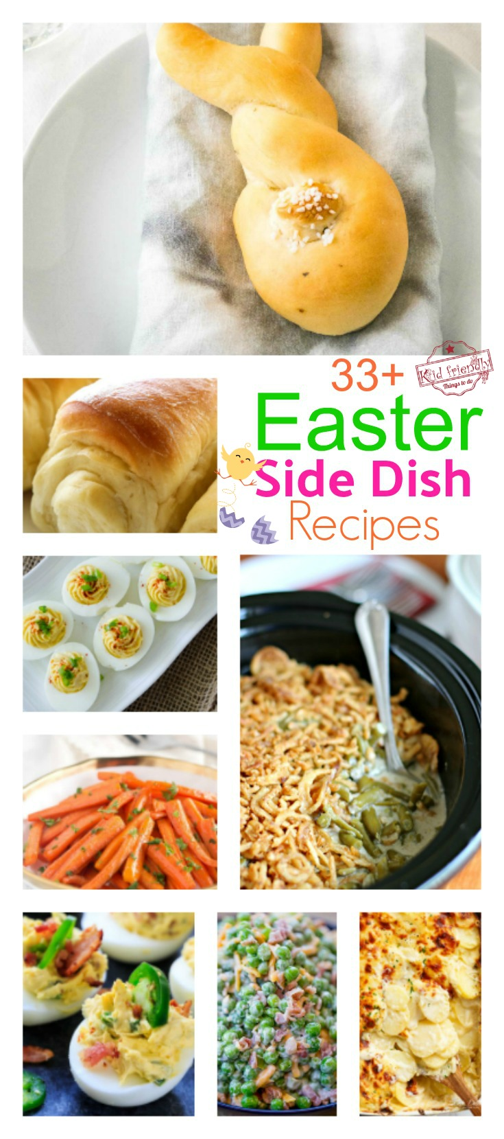Over 33 Easy Easter Side Dish Recipes that will remind you of those traditional down home sides you grew up with! Vegetables, cold salads, Potatoes, Casseroles, Deviled Eggs and more! www.kidfriendlythingstodo.com