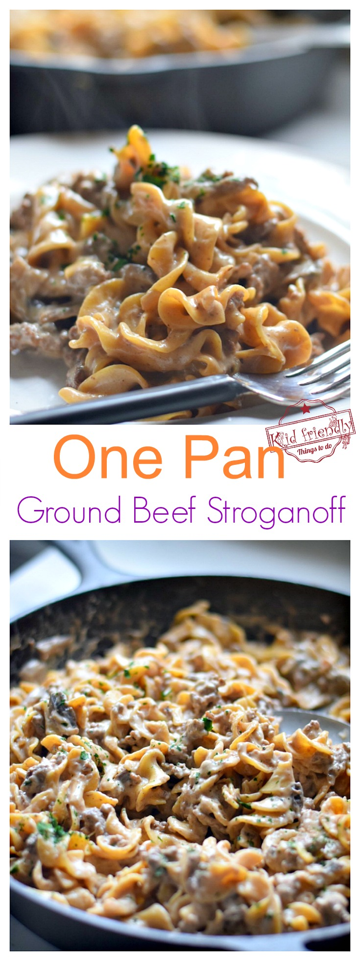 Easy and delicious, creamy one pot Ground Beef Stroganoff made with mushrooms, sour cream and onions. Budget and family friendly. Classic comfort food that's perfect for weeknight family dinner.