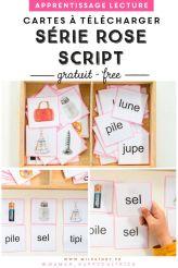photo d'une série rose script pour apprendre à lire aux enfants