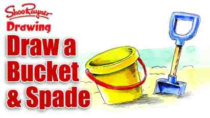 How to draw a Bucket & Spade – August at the Seaside!