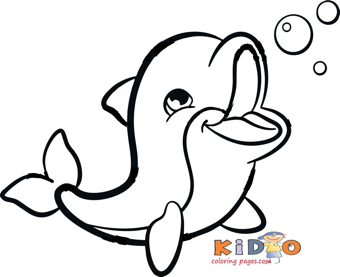 Dolphin coloring in pages for kids - Kids Coloring Pages