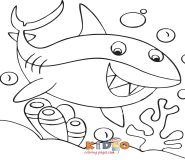 sharks colouring in page for kids print out