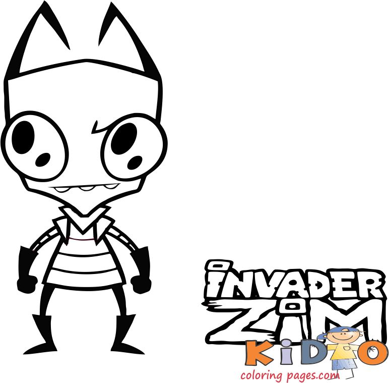 invader zim cartoon coloring pages