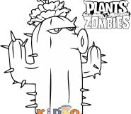 Cactus plants vs zombies coloring pages to print for kids