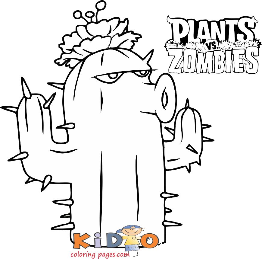 Cactus Plants Vs Zombies Coloring Pages To Print Kids Coloring Pages