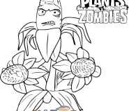 Corporal Corn plants vs zombies kids coloring pages free