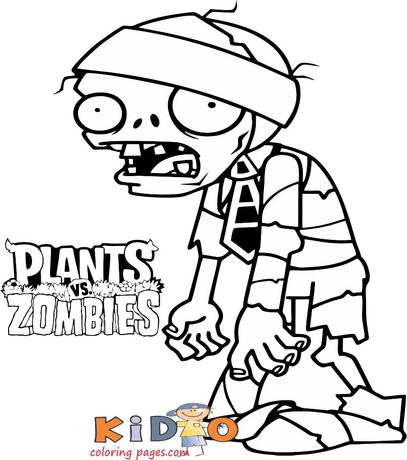 plants vs mummy Zombie colouring sheet for kids to print
