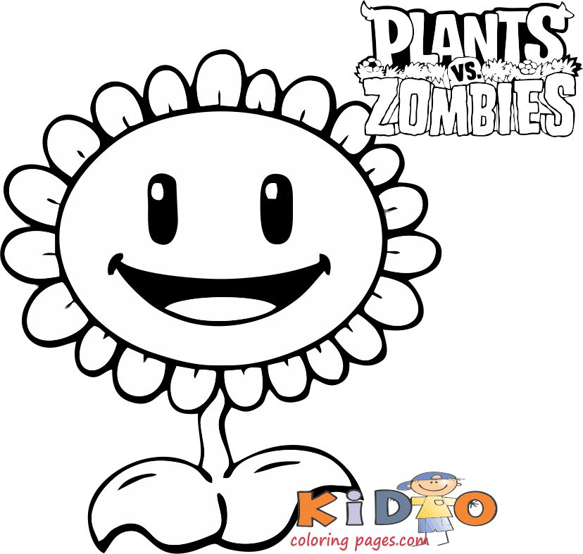 plants vs zombies sunflower coloring pages