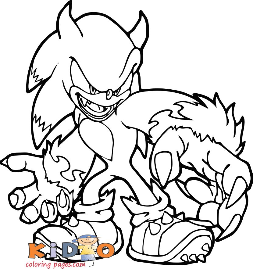 werehog sonic coloring sheets kid