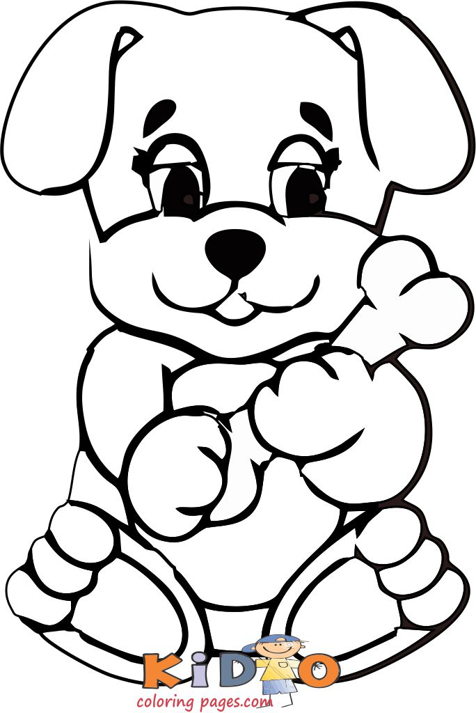 cute puppy with bone coloring pages