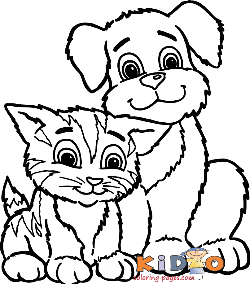 cat and dog coloring pages for kids to printable