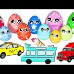 10 Surprise Eggs 3D for Kids to Learn Colors and Street Vehicles Names w/ Nursery Rhymes Kids Songs