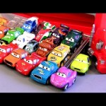 18 CARS Mack Transporter Rolling Display Case Micro Drifters Mack Truck Hauler Display Disney