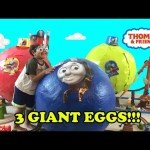 3 GIANT SURPRISE EGGS Thomas and Friends Surprise Toys opening Turbo Flip Go Bubble Ryan ToysReview