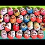 36 Zaini Kinder Surprise Easter Eggs! Frozen Cars2 Disney Princess Spiderman Mickey Barbie HW Huevos