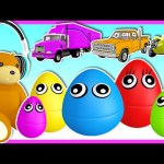 5 Little Monkeys (Surprise Eggs) | Learn Colors with Street Vehicles | Kids Toddlers Nursery Rhyme