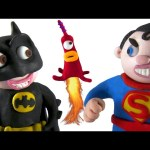 Alien Invasion Batman vs Superman Superhero Movie Clips – Play Doh Animation