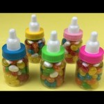 """Baby Milk Bottles"" with Jelly Beans Surprise Toys Disney Princess Snow White Frozen Elsa and Anna"