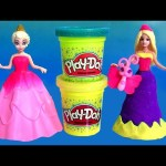Barbie Princess Power Dress-up MagiClip Disney Frozen Anna Elsa Play-Doh Sparkle con Brilho Glitter