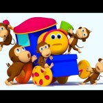 Bob The Train   Five Little Monkeys Jumping on the Bed   Nursery Rhymes   3D Rhymes for Children