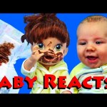 GROSS POOP! Baby Reacts to Baby Alive Lucy Poopy Diaper + Funny Bubble Bath Time by DisneyCarToys