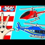 Helicopter Finger Family Song | 360 Degree Animation for Kids | Surprise Eggs Nursery Rhymes