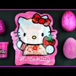 HELLO KITTY Surprises eggs, play doh surprise  Hello kitty Kawaii Cookie  Strawberry.