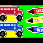 Learn Colors & Vehicles: Monster Truck School Buses ★ Coloring Book ★ Colours for Kids Baby Toddler