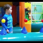 Magic play place for kids with balls floating in the air.