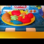 Meal makin kitchen play doh. Mini toy figures . Vegetables, fruits, croissant ,cakes and other food