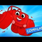 My Red Monster Truck – For Children  (+ 1 hour compilation incl Digger Firetruck Vehicles) Morphle