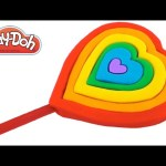 Play Doh How to Make a Giant Rainbow Heart Ice Cream Popsicle DIY  RainbowLearning