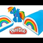 Play Doh How to Make a Rainbow Dash MLP Rainbow Cake RainbowLearning