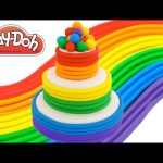 Play-Doh How to Make a Rainbow Tier Cake * Creative DIY for Kids * RainbowLearning
