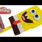 Play Doh How to Make a Spongebob Squarepants Ice Cream Popsicle DIY RainbowLearning
