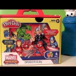 Play Doh Marvel Super Hero Adventures Spiderman Avengers Iron Man HULK Chef Cookie Monster Eats Thor