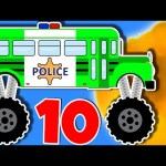 Police Monster Truck Bus – Learning to Count 1 to 10 – Teach Numbers – Monster Trucks for Children