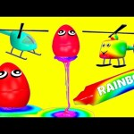 Rainbow Slime Surprise Eggs 3D for Learning Colors / Colours with Helicopter for Kids Baby Toddler