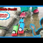 Thomas and Friends kid playing outside with Thomas Train toys James Percy Diesel 10 Ryan ToysReview