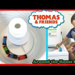 Thomas and Friends kid playing with trains around the house Accidents will happen Ryan ToysReview