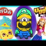 LARGE Play doh Luigi Minion Surprise Egg Mario Toy Egg | Shopkins Frozen Ugglys |