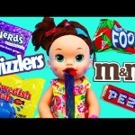 BABY ALIVE Candy Eating Challenge Doll vs Food + M&Ms, Fruit by The Foot, Jelly Belly, Pez