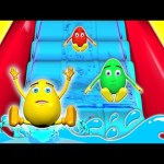 WATER SLIDE 3D for Kids | SLIDE Pool Fun Learn Colours Balls Egg Surprise Toys Colors for Children