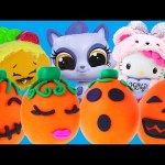 5 Halloween Surprise Play Doh Pumpkin Eggs DCTC Opening Shopkins Hello Kitty Littlest Pet Shop Toys