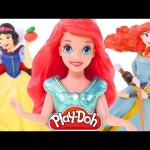 7 Disney Store Princesses Figurines Play Doh Magiclip Mini Dolls Ariel Snow White Merida Jasmine