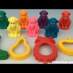 Glitter Play Doh Monkeys with Banana Apple Pineapple and Pear Molds Fun Creative for Kids