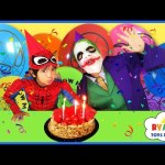 SPIDERMAN SURPRISE BIRTHDAY PARTY WITH JOKER Surprise Toy Funny Superheroes Video IRL In Real Life