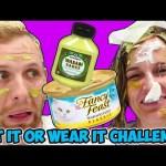 EAT IT OR WEAR IT CHALLENGE! Taste or be dressed with Cat Food, Wasabi Sauce & Sauerkraut